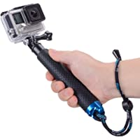 Vicdozia 19'' Waterproof Hand Grip Adjustable Extension Selfie Stick Handheld Monopod Compatible with GoPro Hero(2018) Hero 7 6 5 4 3+ 3 2 1, AKASO, SJCAM SJ4000 Xiaomi Yi More Action Cameras(Blue)