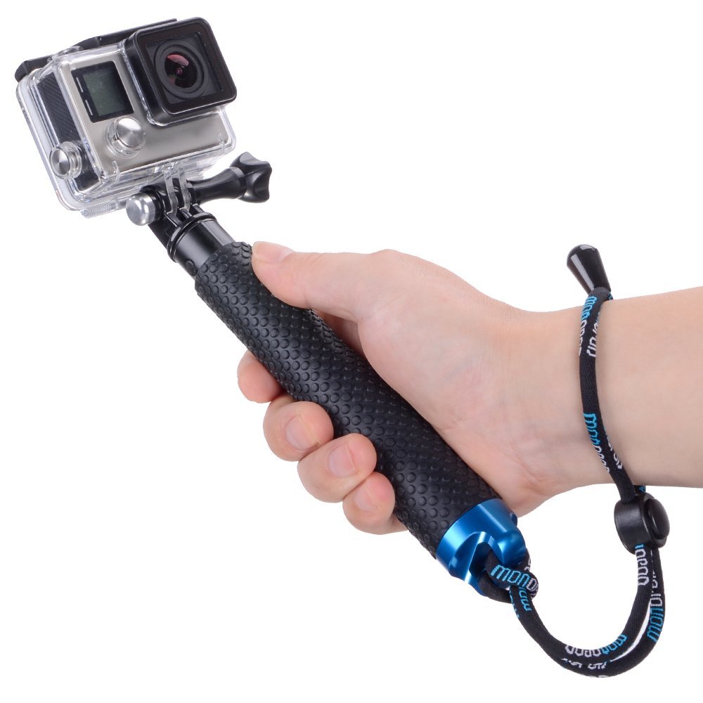 Vicdozia 19'' Waterproof Hand Grip Adjustable Extension Selfie Stick Handheld Monopod Compatible with GoPro Hero(2018) Hero 6 5 4 3+ 3 2 1, AKASO, SJCAM SJ4000 Xiaomi Yi More Action Cameras(Blue)