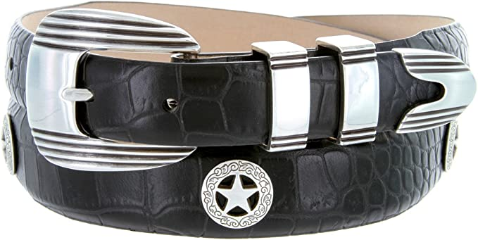 "Presidential Silver Star Mens Italian Calfskin Designer Dress Belt 1-1//8/"" Wide"