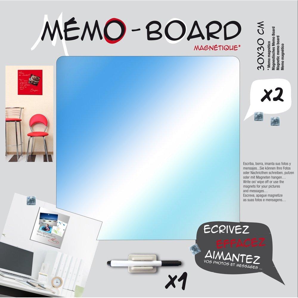 Verre 3 x 30 x 30 cm Emotion 104349 Memo Board Magn/étique Gris