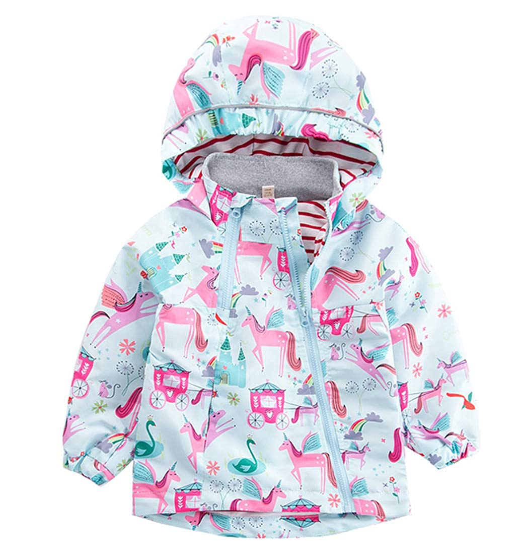 CX.AZUL Toddler Girls Cartoon Unicorn Autumn Rain Coat Jacket Hooded