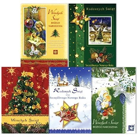 Amazon christmas cards traditional set of 5 polish christmas cards traditional set of 5 polish language m4hsunfo