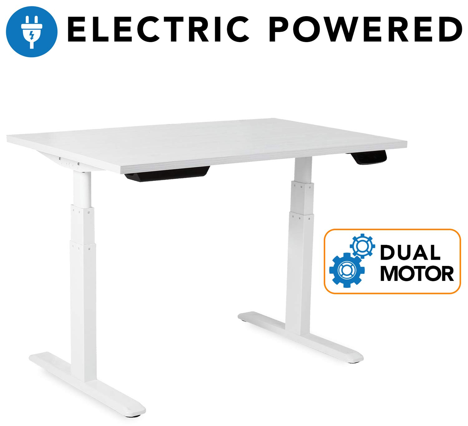 Mount-It! Electric Standing Desk Frame - Motorized Sit Stand Desk Base with Programmable, Memory and Timer Function LED Touch Control - Dual Motor Height Adjustable Workstation - Steel Base, White by Mount-It!