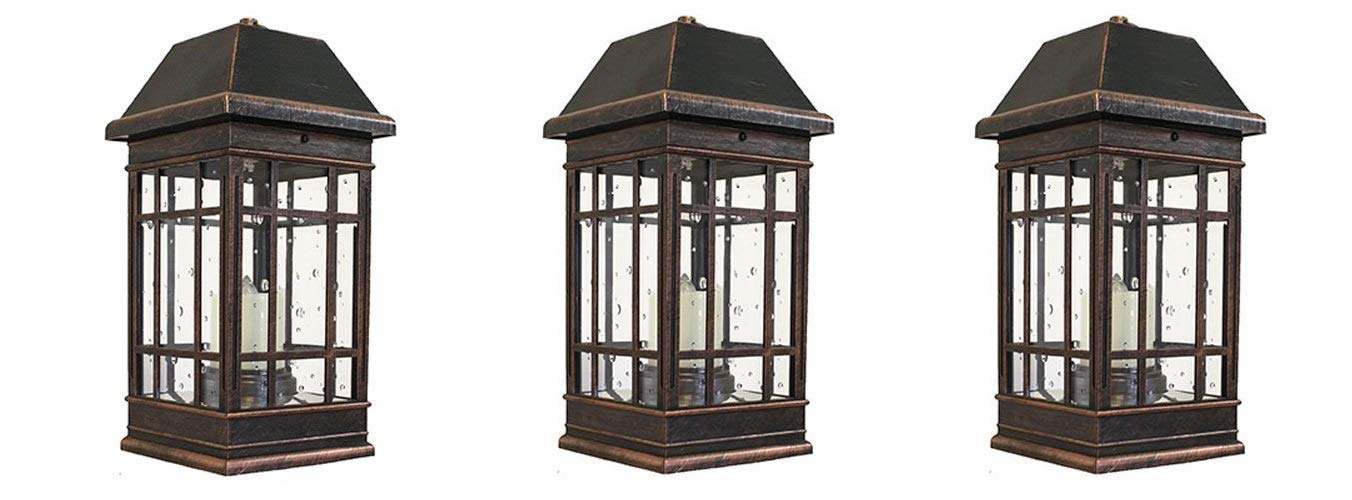 Smart Solar 3960KR1 San Rafael II Solar Mission Lantern Illuminated by 2 High Performance Warm White LEDs in The Top and One Amber LED in The Pillar Candle (Pack of 3)