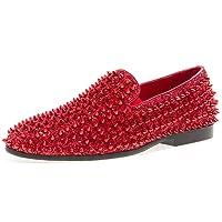 JUMP NEWYORK Men's Luxor Round Toe Textile and Leather Metallic Spike Slip-On Smoking Slipper Dress Loafer