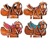 AceRugs 10″ 12″ 13″ Western Youth Kids Leather Tooled Rodeo Barrel Racing Crystal Bling Child Horse Pony Saddle TACK Set Headstall REINS Breast Collar