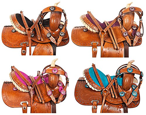 "AceRugs 10"" 12"" 13"" Pink Purple Black Blue Crystal Show Western Barrel Racing Youth Child Kids Horse Pony Saddle TACK Package Free Bridle REINS Breastplate (Black, 12)"