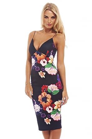 0c4dcce25b AX Paris Women s Strappy Floral Midi Bodyconblack Dress(Black Multi Flower