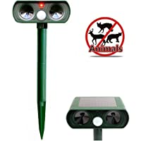 Sungpunet Ultrasonic Animal Repeller Outdoor Waterproof Solar Battery Cat Dog Scarer Electronic Sonic Animal Repellent (Green)