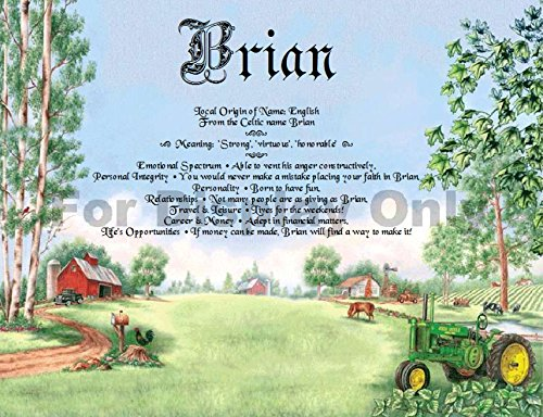 Gift Card Birthday Anniversary Keepsakes by TheNameStore | 100 unique colorful background art theme choices personalized with your name and it's meaning (John Deere Tractor Farm Barn) - Anniversary Tractor