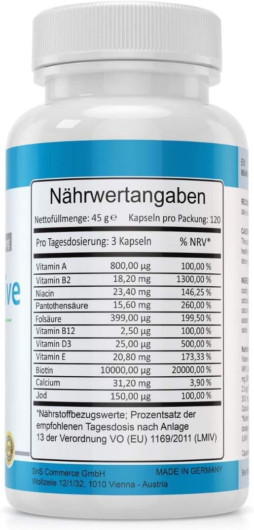 Cápsulas de Crecimiento de la Barba - MADE IN GERMANY - 120 ...