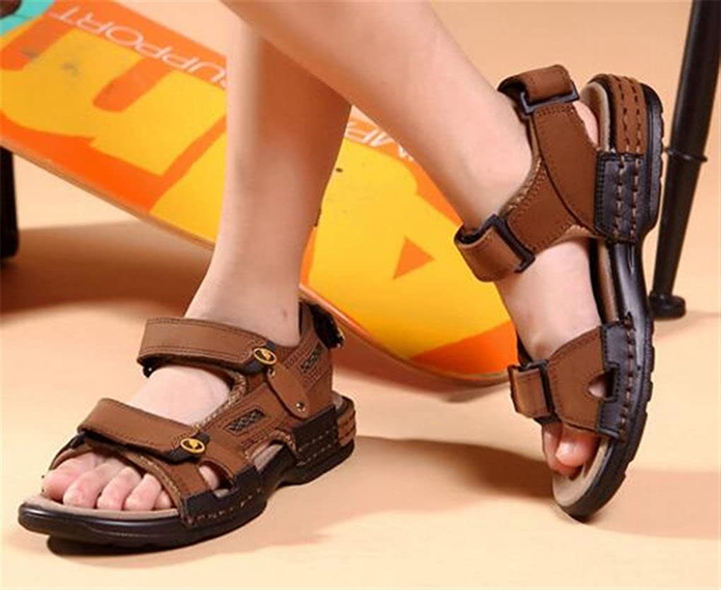Naughtykids Boys Top Layer Leather Waterproof Breathable Outdoor Sports Two-Strap Beach Sandal