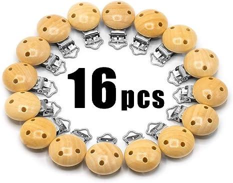 RUBY - 16 Pinzas clip madera para chupete, pinza chupete madera con 3 agujeros, Envío desde España (Natural, 16 PCS): Amazon.es: Bebé