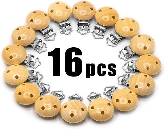 Image ofRUBY - 16 Pinzas clip madera para chupete, pinza chupete madera con 3 agujeros, Envío desde España (Natural, 16 PCS)