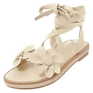 028560e5aff1 Artfaerie Women s Strappy Flat Sandals with Flowers Open Toe Slingback  Summer Cute Shoes Beige