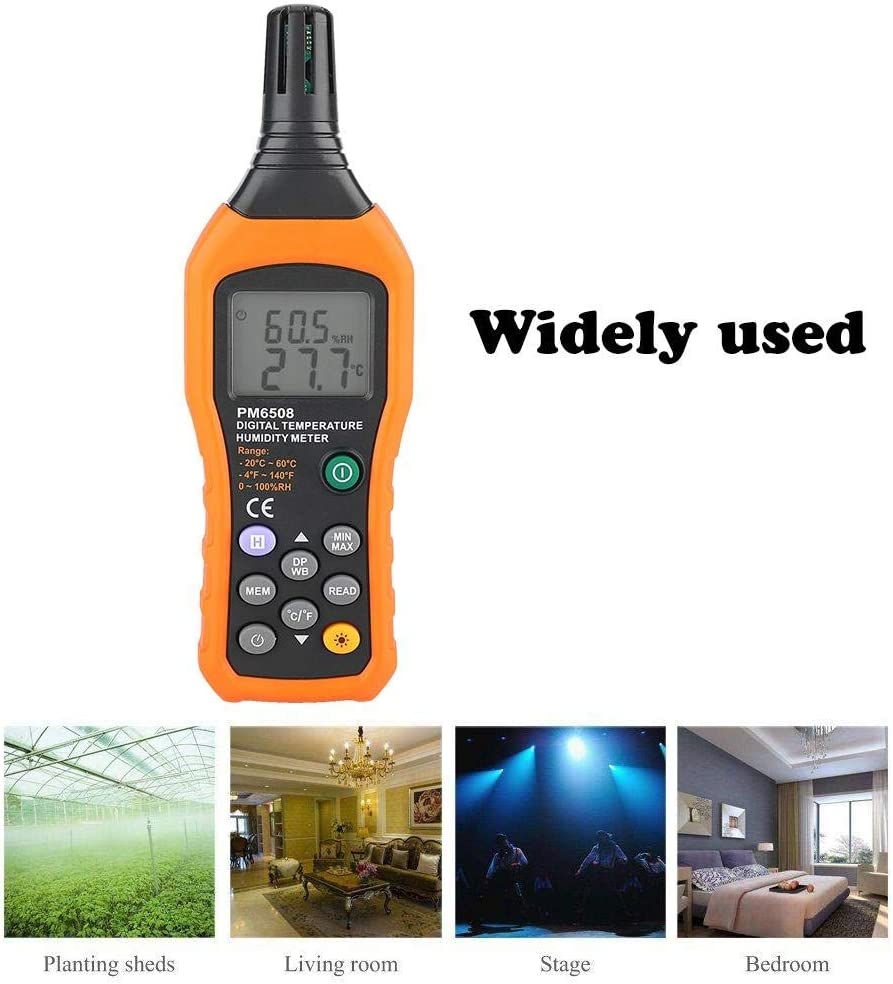 PM6508 High Precision Handheld LCD Digital Temperature Humidity Meter Thermometer Hygrometer for Home and Industrial Using 7.12.41.1in