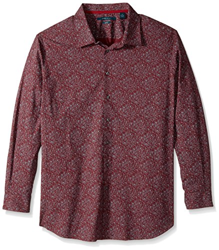 Perry Ellis Men's Big and Tall Big & Tall Midnight Floral Shirt, Sun Dried Tomato, 2XL