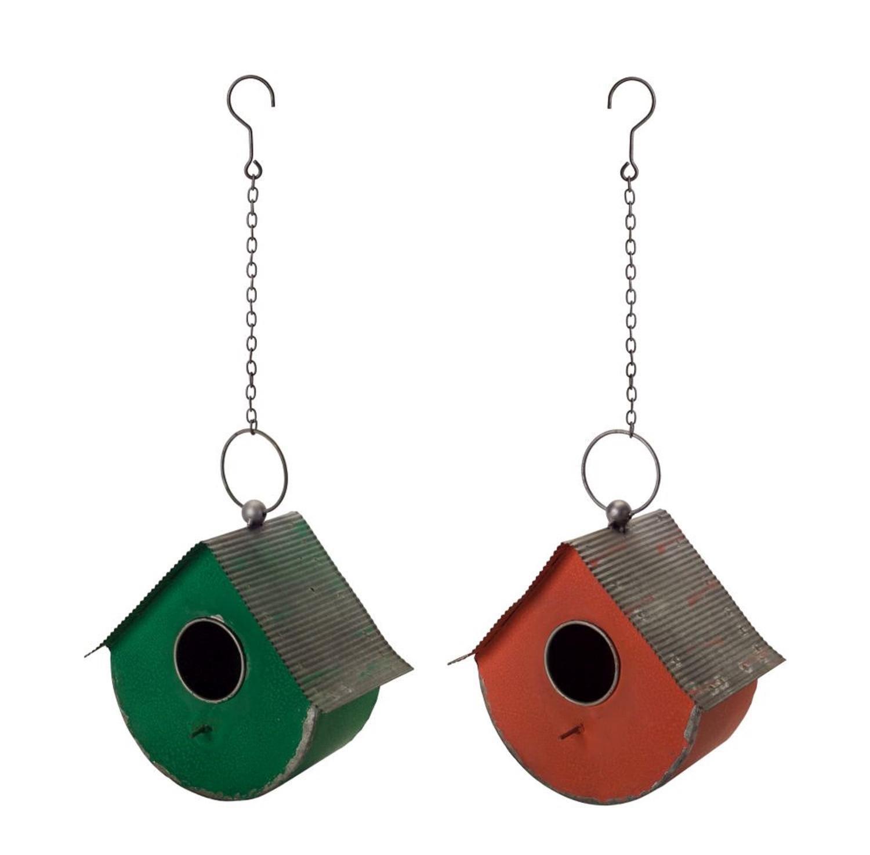 Diva At Home Set of 4 Dark Green and Dark Orange Decorative Metallic Birdhouse with Hook 9''