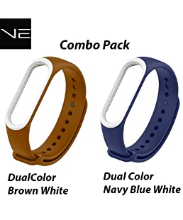 Verox Mi Band 3 Dual Color Strap Brown White & Navy Blue White Combo Pack
