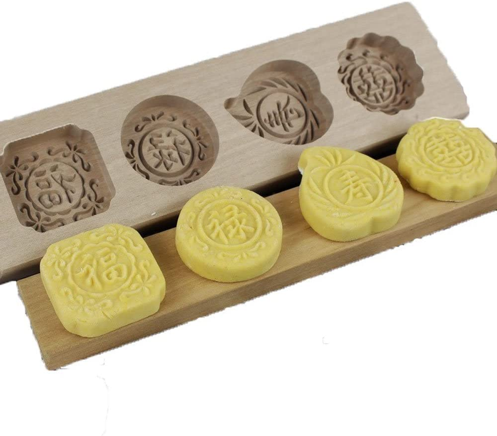 QMOEH Chinese Traditional Mini Wooden Mid-autumn Festival Mooncake Mold (Fu Lu Shou Xi)