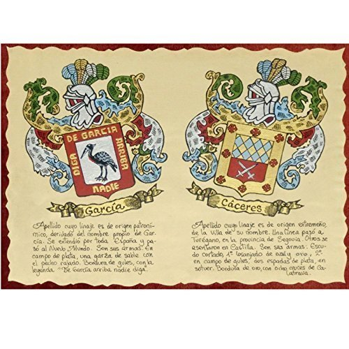 Pergamino apaisado con escudos del apellido, pintado a mano ...