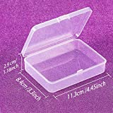 SATINIOR 12 Pack Small Rectangle Clear Plastic Containers Box with Hinged Lid Bead Storage Box Case (4.45 x 3.3 x 1.18 Inch)