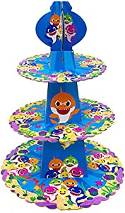 3 Tier Baby Shark Cake Stand Cardboard Cupcake Stand Party Supplies,Dessert Cupcake Holder for Kids Birthday Party, Baby Shower, Baby Shark Themed Party Decorations