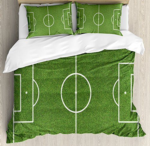 Ambesonne Teen Room Decor Duvet Cover Set King Size, Soccer Field Grass Motif Stadium Game Match Winner Sports Area Print, Decorative 3 Piece Bedding Set with 2 Pillow Shams, Fern Green White by Ambesonne