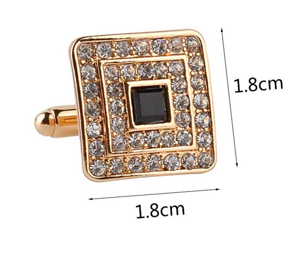 Da.Wa Men Enamel Diamond Inset Cufflinks Classic Tuxedo Shirt Suit Cuff Links Stud (Gold) by Da.Wa (Image #2)