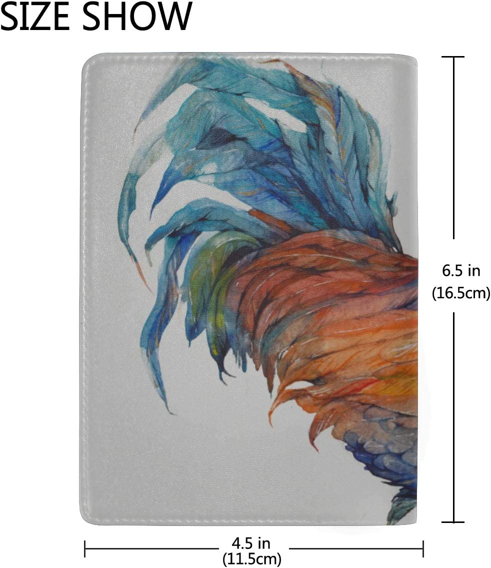 Colorful Rooster In The Grassland Blocking Print Passport Holder Cover Case Travel Luggage Passport Wallet Card Holder Made With Leather For Men Women Kids Family