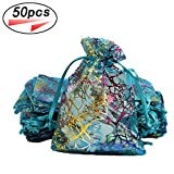 Coralline Organza Gift Bags Drawstring Organza Jewelry Pouches Candy Chocolate Party Wedding Favor Gift Bag (Blue, 50pcs)