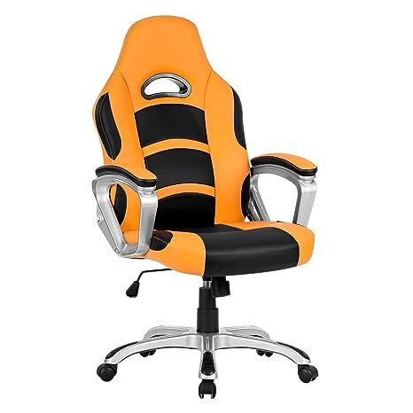LANGRIA Racing Style Silla de Oficina de Cuero de la Computadora, Giratorio de 360 Grados