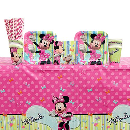 Minnie Mouse Party Supplies Pack for 16 Guests Includes: Straws, Plates, Napkins, Cups, and Table Cover (Bundle for 16)