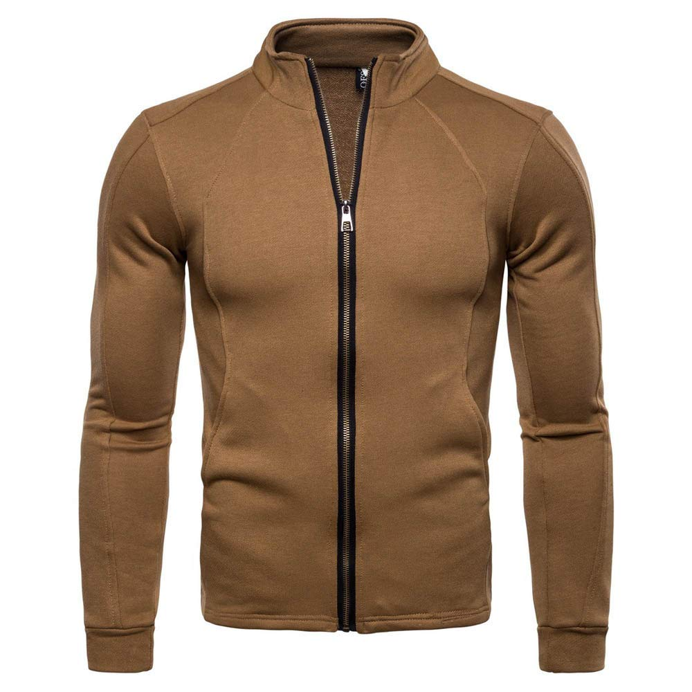 Kemilove Men's Casual Long Sleeve Solid Stand Zipper Jacket Top Blouse Unisex Hoodie Human Jacket Sweatshirt