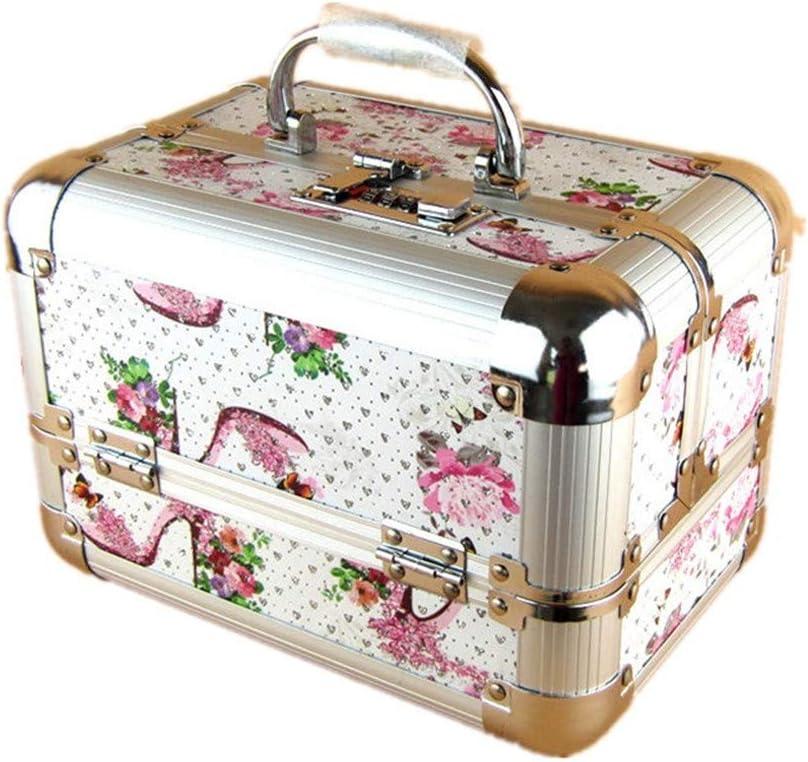 コスメボックス メイク用品収納 美容メイクアップと女性の女性のためのポータブルメイクトレインケースロックと折り畳みトレイとアルミフレームと日常のストレージ 大容量 化粧品収納ボックス 収納ケース