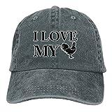 chicken bucket hat - Thirteenkeke I Love My Chickens Unisex Denim Bucket Hat Printed Visor Caps