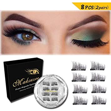 5cc7f3afe00 Amazon.com : Maksuzee Magnetic Eyelashes Dual Magnets False Eyelashes NO  Glue Fake Lashes Extension, Natural Look 8 Pieces /2 pair : Beauty