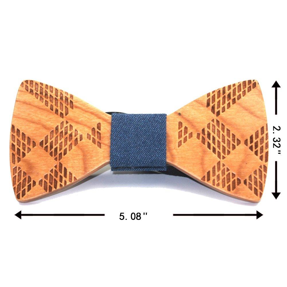 SAMBAN Fashion Creative Wood Bow Tie Pre Tie Handmade Bowtie Necktie Mens Gift
