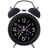 Uniquebella Réveil matin, Lumineux et Silencieux, Rond Diamètre 8.2cm à Double cloches- Magic Noir