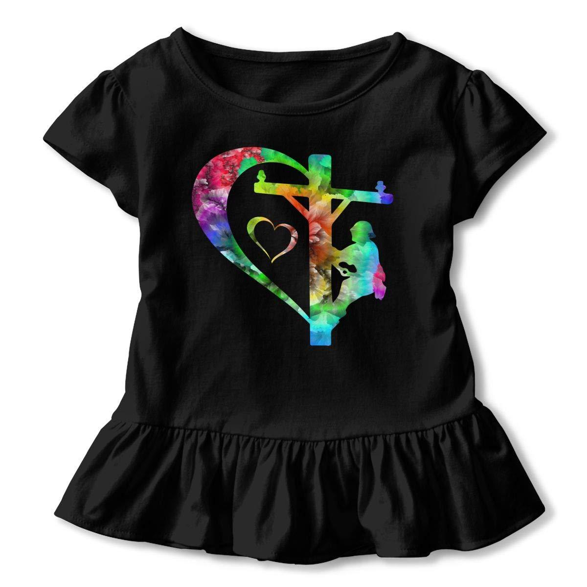 Lineman On A Pole Statue Heart Toddler Baby Girls Short Sleeve Ruffle T-Shirt