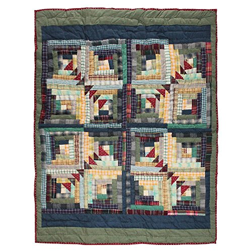 Patch Magic Wild Goose Log Cabin Crib Quilt, 36-Inch by 46-Inch