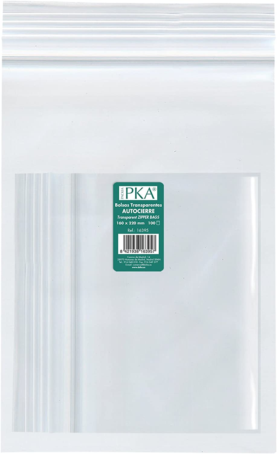 PKA 16397/ 230/x 320/mm /Pack of 100/Re-sealable Plastic Bags