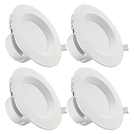 TORCHSTAR 4-Pack 6 Inch LED Recessed Downlight with Junction Box, 9W (80W  Eqv ) Dimmable LED Ceiling Light Fixture, IC-Rated & Air Tight, Wet