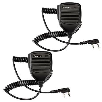 5pcs Handheld Speaker Mic 2-Pin PTT Speaker Mic For Retevis H777//RT5R Baofeng US
