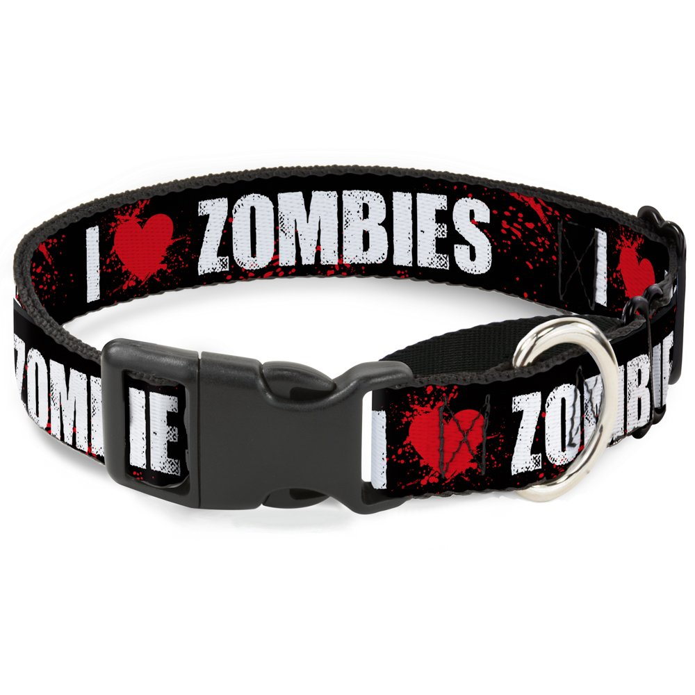 Buckle-Down MGC-W30939-M I Heart  Zombies Black White Red Splatter Martingale Dog Collar, Medium