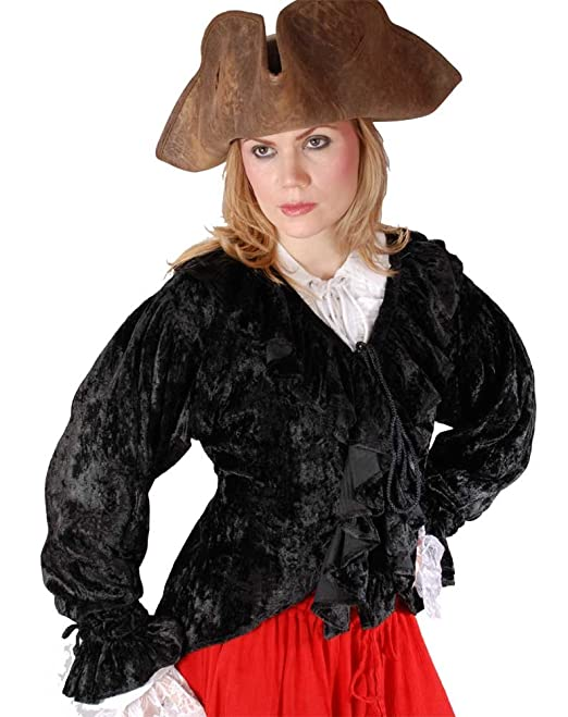 Black Velvet Ruffled Blousy Lady Pirate Jacket with Black Ruffles Cascading Down Front, Elastic Wrist with Ruffled Cuffs, Front Lacing Closure, and Long Flowing Back by ToBeAPirate