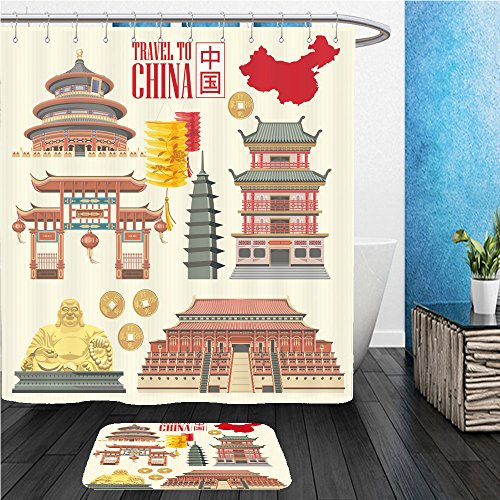 Countries Costumes Traditional Asian (Beshowereb Bath Suit: ShowerCurtian & Doormat china travel vector illustration chinese set with architecture food costumes traditional)
