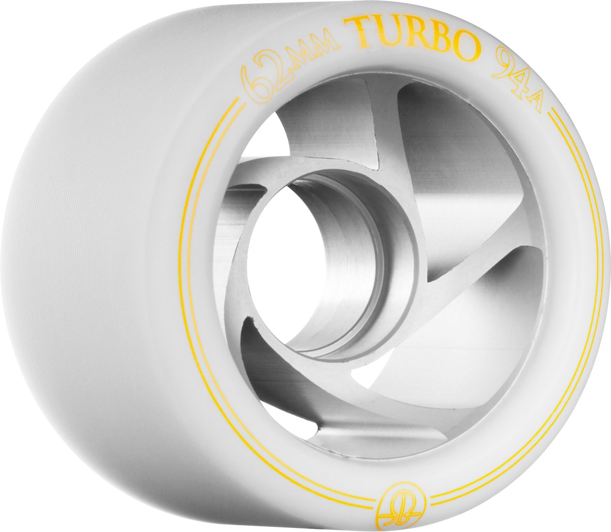 Rollerbones Turbo Speed/Derby Clear Aluminum hub Set of 8 Rollerskate Wheels
