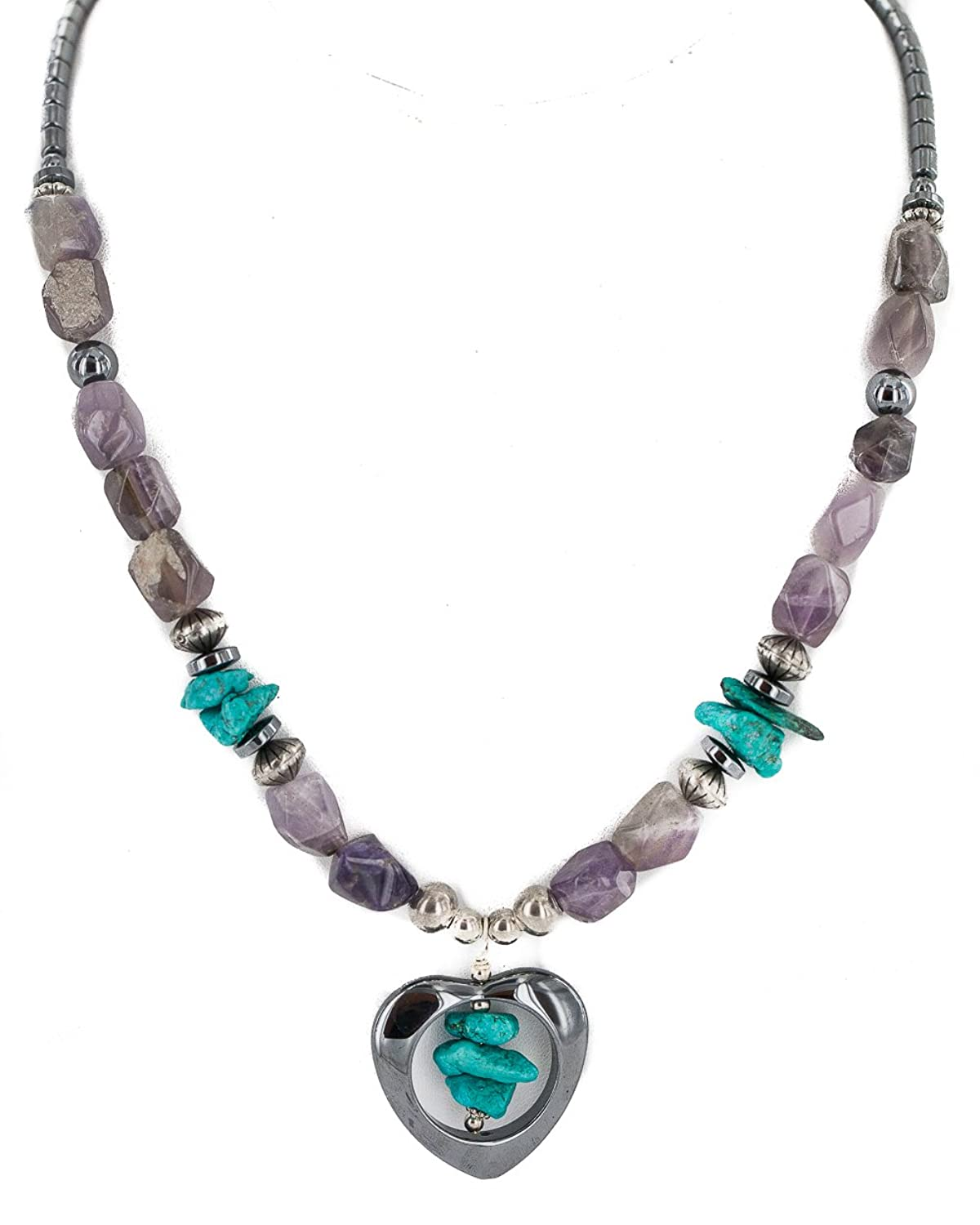 $280 Retail Tag Heart Silver Authentic Made by Charlene Little Navajo Natural Turquoise Amethyst Hematite Native American Necklace
