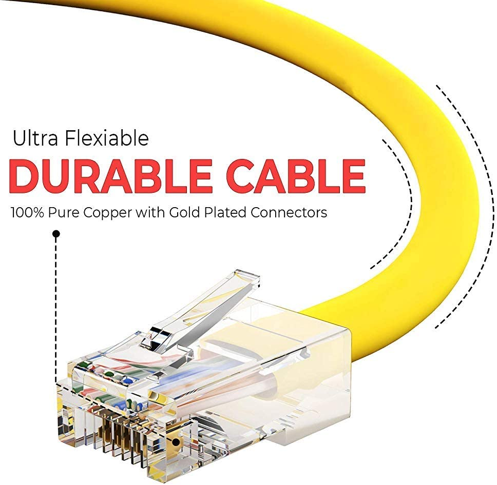 Professional Series BoltLion BL-692247 Bootless Cat5e RJ45 Ethernet Cable 1 Feet 350MHZ 10 Pack 1Gbps Network//Internet Cable Yellow